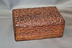 Hand Carved Wooden Jewellery Jewelry Trinket Wood Box Keepsake Storage Organizer