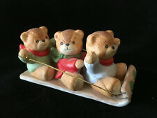 Lucy & Me Bear 3 Bear's Sledding On Toboggan Lucy Rigg Enesco 1986 Rare