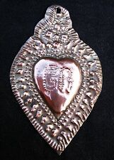 OLD  BEAUTIFUL COPPER EX VOTO SACRED HEART  19thC
