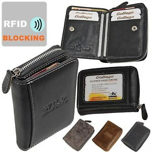Wild Reißverschuss Geldbörse Leder Geldbeutel mit RFID Blocker Damen Herren 5511
