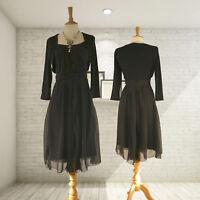 New Ex JIGSAW Black Raw Silk Tea Dress RRP £129
