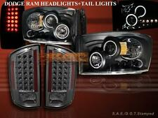 2007-2008 DODGE RAM LED PROJECTOR HEADLIGHTS TWO CCFL HALO + LED TAIL LIGHTS SMK