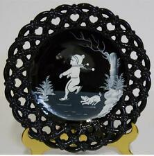 1974 Westmoreland ~ Mary Gregory Laced Edge Black Glass Plate ~ Boy Ice Skating