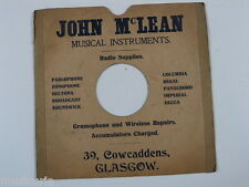 "78 rpm 10"" inch card gramophone record sleeve , JOHN McLEAN , glasgow"