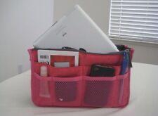 Women Travel Insert Handbag Organizer Purse Large Liner Tidy Bag Pouch-Rose Pink