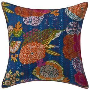 Ethnic Living Room Sofa Cushion Cover 40x40 cm Kantha Printed Cotton Pillowcase