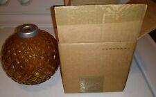 NOS! Antique Geo Thompson light Yellow amber Flat Quilt Lightning Rod Ball w Box