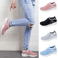 Womens Slip On Trainers Walk Go Sports Comfy Sock Sneakers Shoes Size Summer NEW