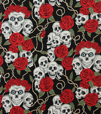 Alexander Henry The Rose Tattoo Skull Goth Black Fabric BHY