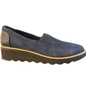 Clarks Sharon Dolly Slip On Ortholite Wedge Loafer Navy Blue Suede Shoes Size 10