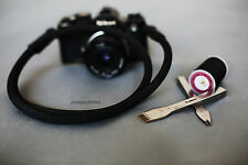 cool black leather black Climbing rope 9.5mm  handmade Camera neck strap SLR