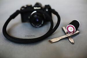 Windmup black leather black Climbing rope 10mm  handmade Camera strap