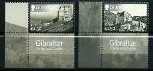 GIBRALTAR, SCOTT # 1595-1596, SET OF TWO 2017 EUROPA, MOORISH CASTLES, WITH TABS