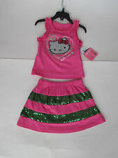 Hello Kitty - Girl's 2 pc Outfit  Pink top with skirt size 4 - NWT