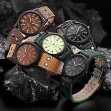 Neu Retro Herren Uhren Edelstahl Date Leder Analog Quarz Sport Armbanduhren Uhr