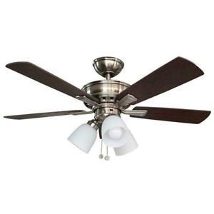 "Vaurgas 44"" LED Indoor Brushed Nickel Ceiling Fan w/ Light Kit by Hampton Bay"