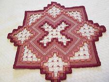 Hardanger  Doily Norwegian Embroidery Cut Work Dk. Rose