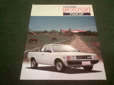 1987 / 1988 / 1989 HYUNDAI PONY 1.2 PICKUP - ENGLISH / UK COLOUR FOLDER BROCHURE