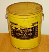 Large Vintage Armour's Simon Pure 100% Leaf Lard Tin / Metal Can w/ Lid
