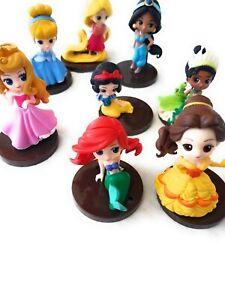 Princesses Cake Topper Plastic Disney 8 pcs figurines set