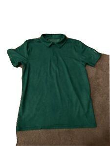 boys under armour large YLG Golf Polo Shirt EUC Green