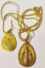 pendentif+chaine vintage médaille religieuse vierge relief plaqué or * 5175