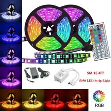 5M 16.4ft RGB 5050 LED Strip light SMD Tape 44 Key Remote 12V 4A Power Full Kit