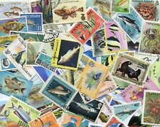 100 Different Sealife Fish Marine Life etc  on Stamps Thematics *STOCK PICTURE*