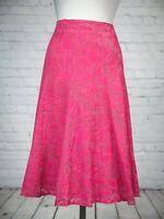 M&S Pink Bubblegum Fit Flare Fishtail Panelled Midi Skirt 12 Textured NEW TAGS