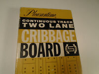 Vintage Pleasantime Continuous Track Two Lane Cribbage Board 1963 Wood Games