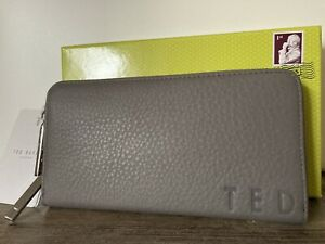 TED BAKER ELIIEY Branded leather matinee purse dark grey New with tags BOXED
