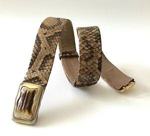 Judith Leiber Women Sz Small Brown Beige Python Snake Leather Belt Runway Auth