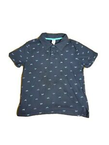 GUC Sz Lg 10-12 Gymboree Short Sleeve Navy Blue Polo Shirt with Bicycles