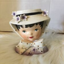 Vintage Relpo Head Vase Girl With Hat Polka Dots Purple Made In Japan