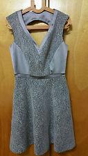 $478 Kate Spade NWT taupe jaquard open back sleeveless dress SZ 4