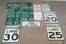 Lot of (23) Used Street Signs TRAFFIC HIGHWAY Speed Limit 20 4 Way Road Vintage
