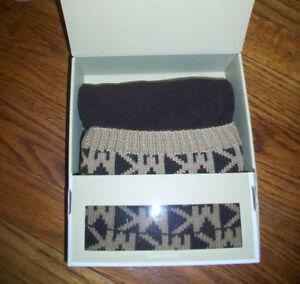 Michael Kors Boot Socks Brown/Tan Logo Woven L -XL