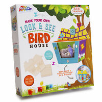 Build & Paint Your Own Wooden Bird House with Secret View Kids Fun Gift Activity