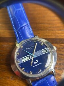 Vintage Bulova President Automatic Blue Whale Dial Day/Date Mens Watch 1972 23J