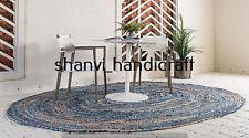 Handmade Natural Braided Rags Oval Rug Jute & Denim 6x9 Feet Rug Area Rug Carpet