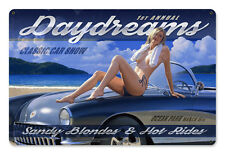 Daydreams Classic Car Hildebrandt Metal Sign Sexy Pinup Girl SIGNED + FREE PRINT