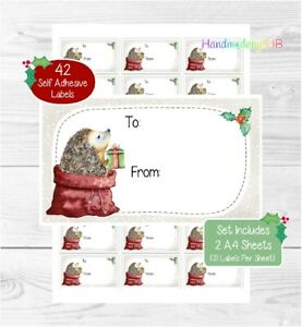 Hedgehog Christmas Gift Labels, 42 Self Adhesive Peel Off Stickers/Gift Tags