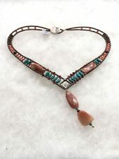REDUCED Ziio ITALY AGATE TURQUOISE CORAL STERLING GEMSTONE MURANO GLASS NECKLACE