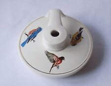 More details for vintage holkham pottery wee willie winkie lamp base.decorated with british birds