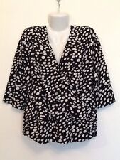 JONES NEW YORK Size 1X Stretch Black/Ivory Ruched 3/4 Sleeve Top Work Casual