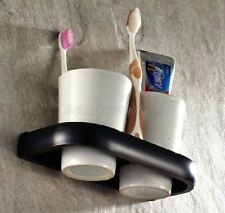 Oil Rubbed Br Bathroom Toothbrush Holder With Two Cup Set Wall Mount Fba197