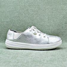 """FITFLOP """"F-SPORTY"""" Metallic Silver Sneakers Women's sz 8.5  NEX2NEW"""