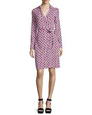 DIANE VON FURSTENBERG DVF New Jeanne Two Check Dot Pink Dress Size 0 NWT $398