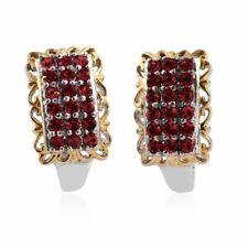 18K YG and Platinum Bond Brass J-Hoop Earrings Made with SWAROVSKI Red Crystal T