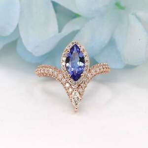 Natural Tanzanite & Real Diamond Halo Engagement Ring 14K Solid Gold Women's